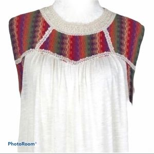 Anthropologie W5 White Embroidered Boho Knit Tunic